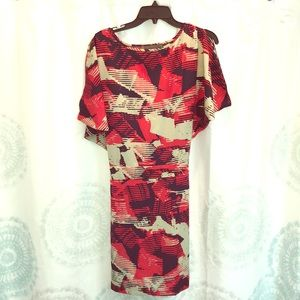 red patterned sleeveless dress